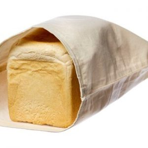 Product image of an organic cotton reusable bag for bread
