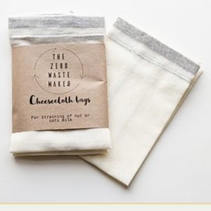 Product image of the zero waste maker cheesecloth bags for straining homemade nut or oat milk