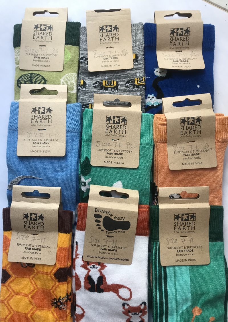 Product image of bamboo socks in a wide range of colourful designs.