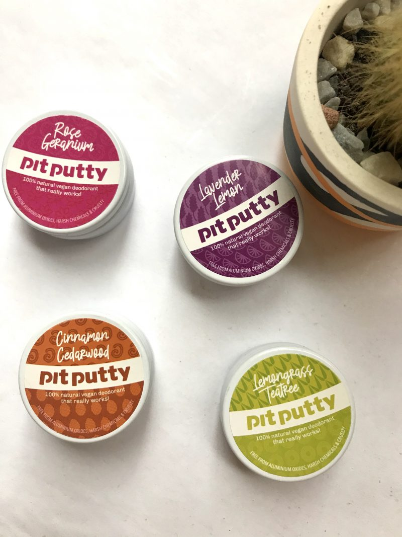 Image of tins of different scents of pit putty natural deodorant