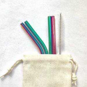 Product image of a set of Rainbow metal, reusable straws
