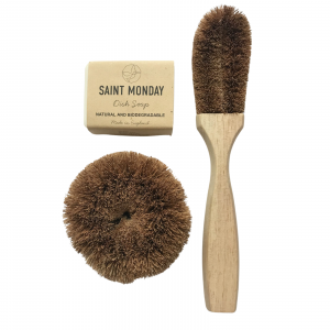 Product image for dish soap, scourer and dish brush