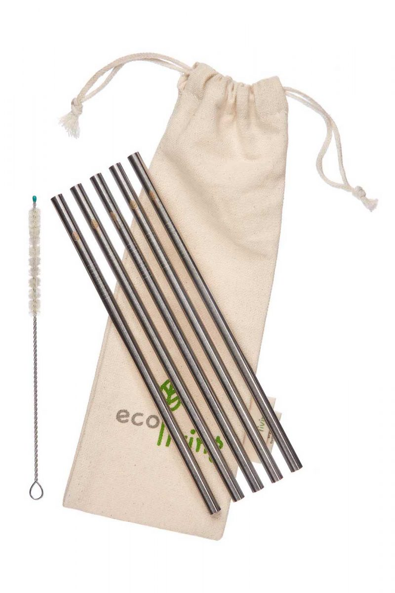 Product image of Ecoliving;'s set of 5 metal, smoothie straws with a natural cleaning brush and pouch