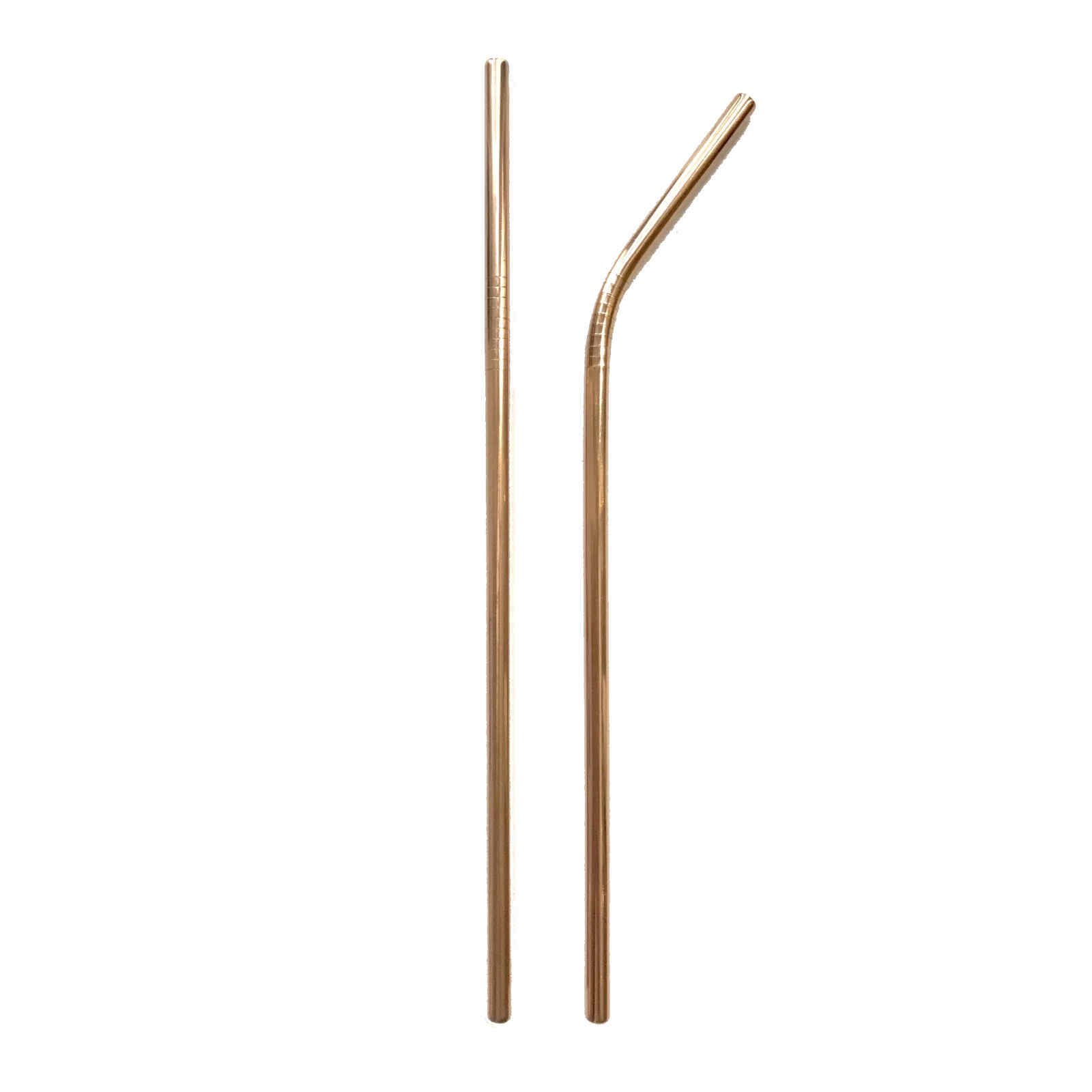 Product image metal straw rose gold straight bent