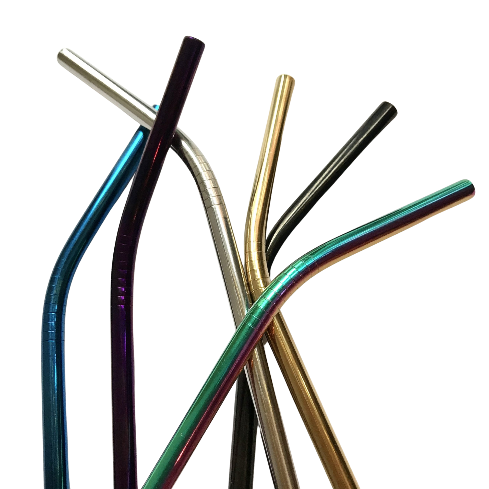Product image for reusable straws rainbow, blue, purple, black in 2 shapes
