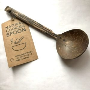 Product image of a wooden ladle, made from coconut shell and kithul wood