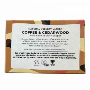 Product image for coffee and cedarwood shaving bar with information