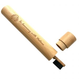 Product image for curantura sustainable bamboo toothbrush travel case