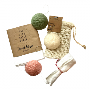 Product image for konjac sponges, soap pouch, flannel and facial wipes