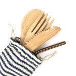 Product image of our pouch/bag for reusable straws and cutlery