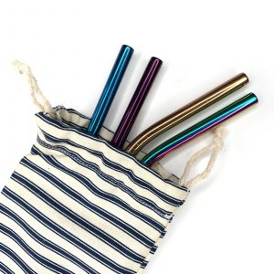 Product image of a fabric pouch containing metal reusable straws