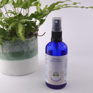 Product image of blue glass spray bottle containing Each and Every Drop Cakming Breath organic space spray