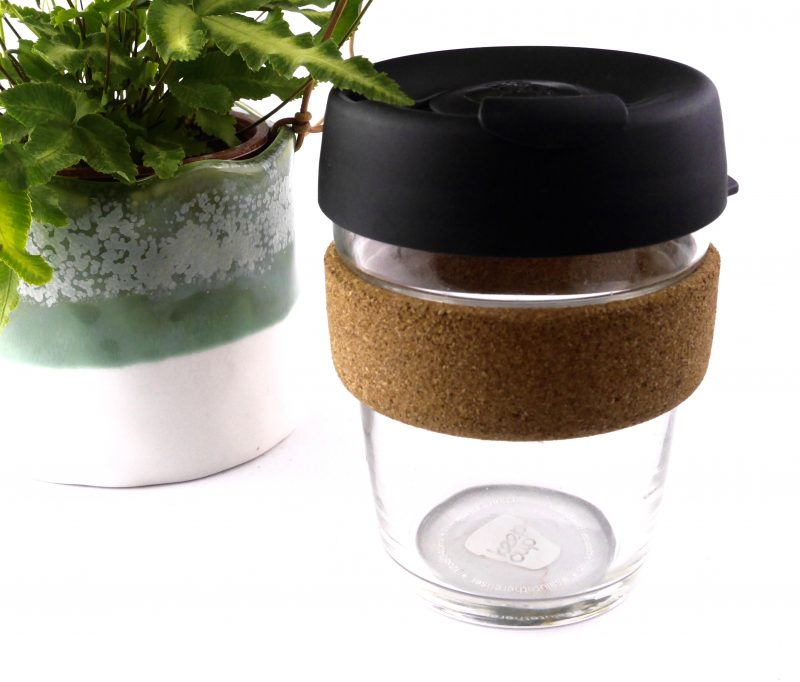 Product image of the reusable glass keep cup with a cork band