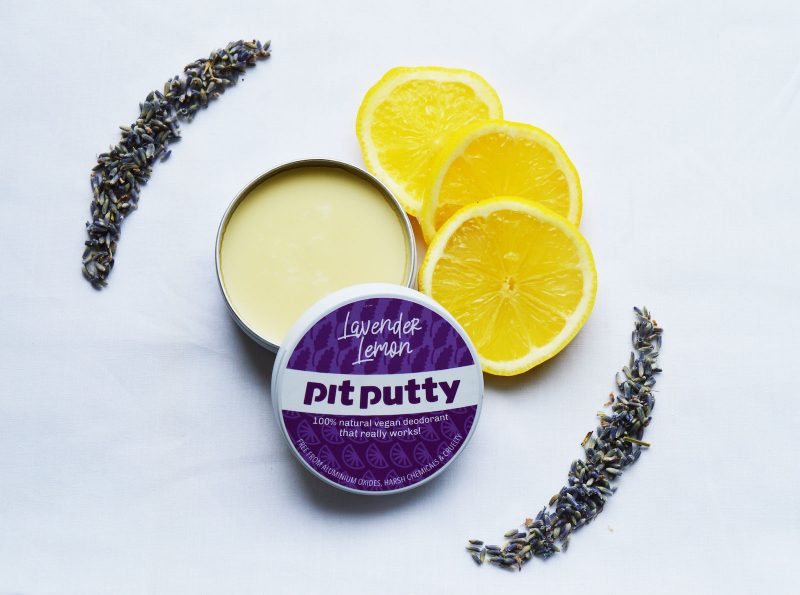 Image of a tin of Lavender and Lemon Pit Putty natural deodorant