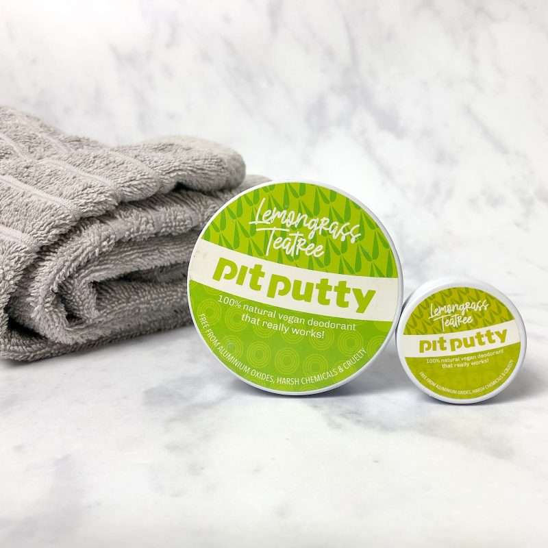 Image of a tin of Lemongrass and Tea Tree Pit Putty natural deodorant
