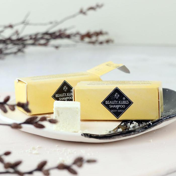 Product image of a travel size Beauty Kubes shampoo