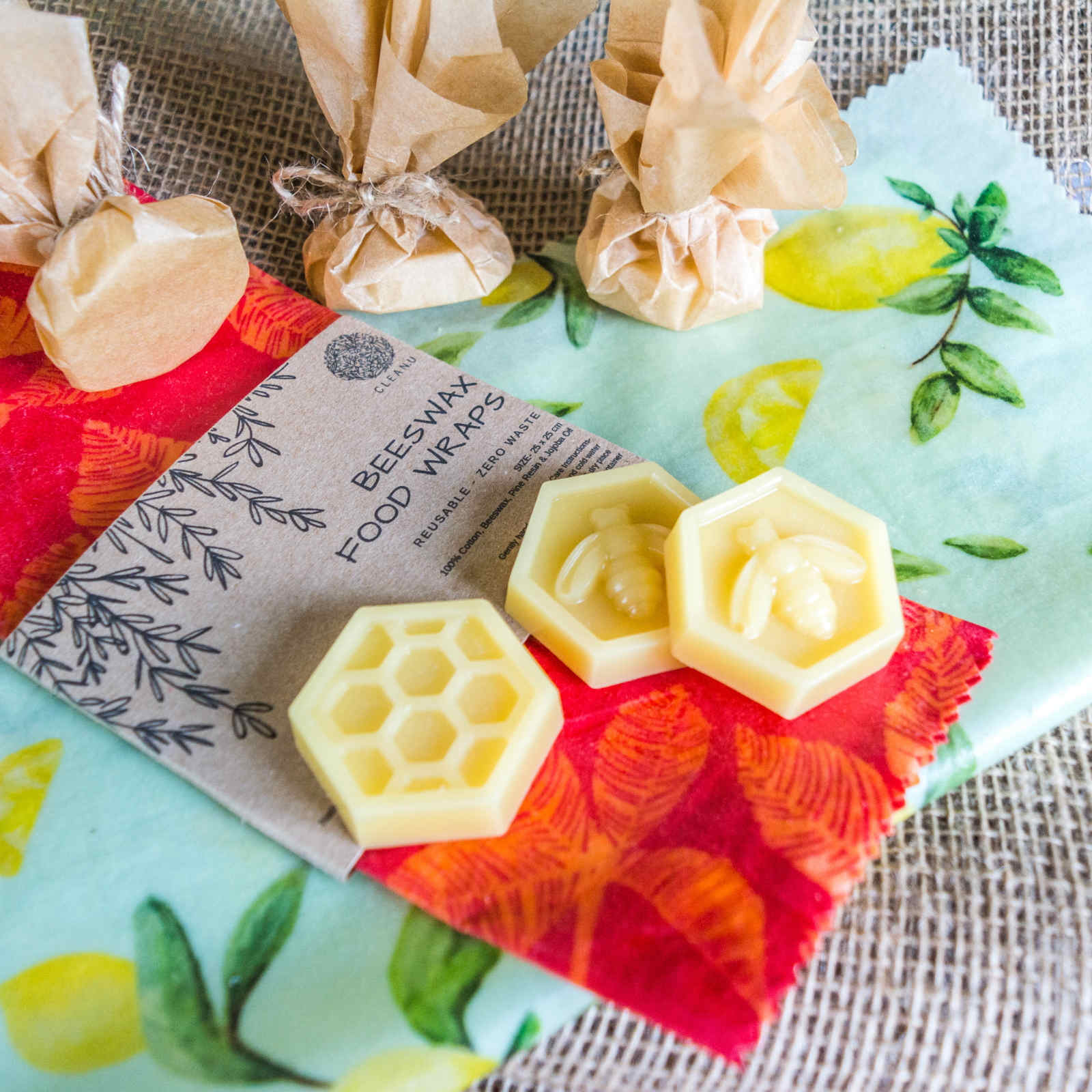 Product image for cleanu beeswax wraps and refresher blocks