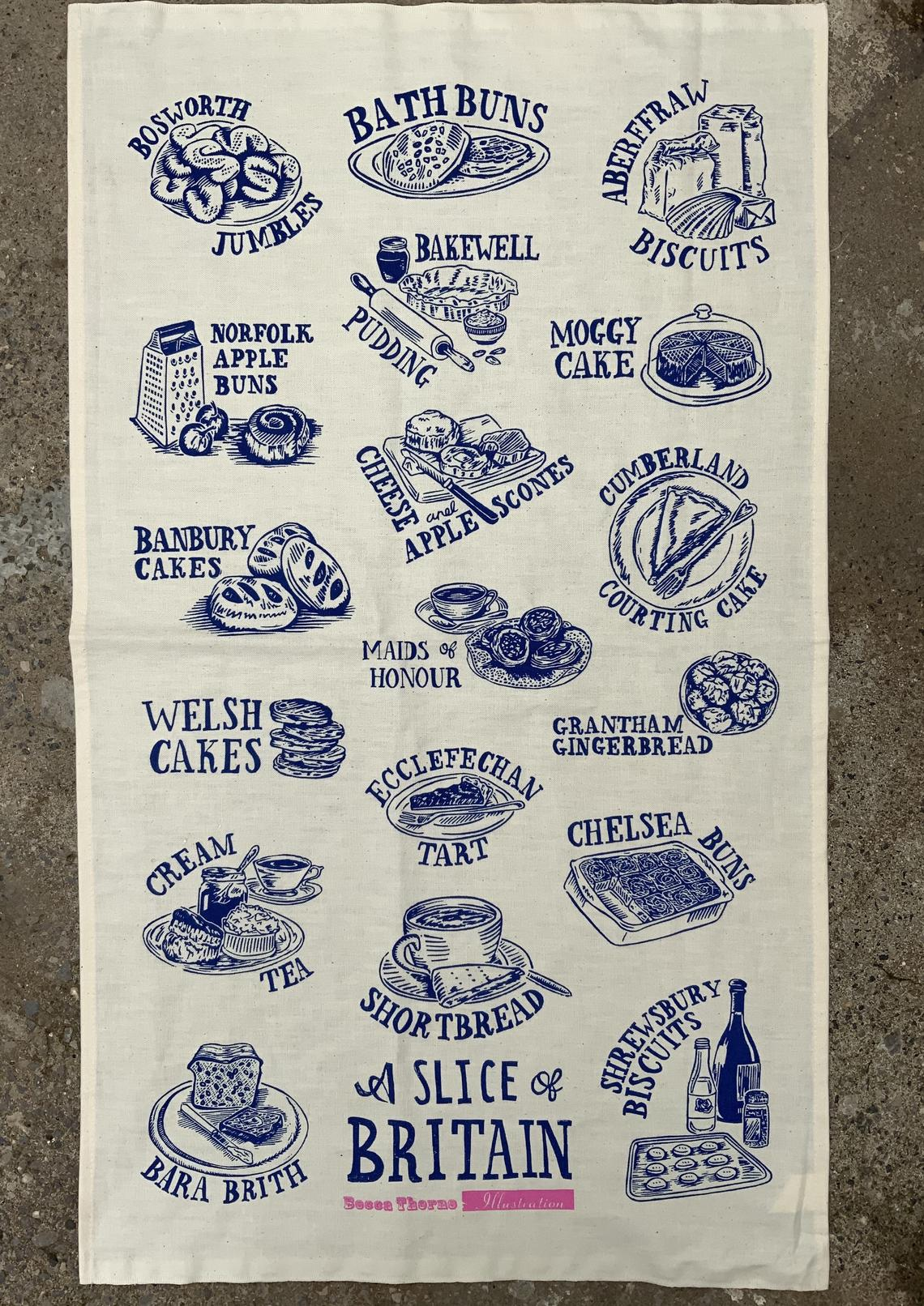 roduct image for a slice of britain cotton tea towel