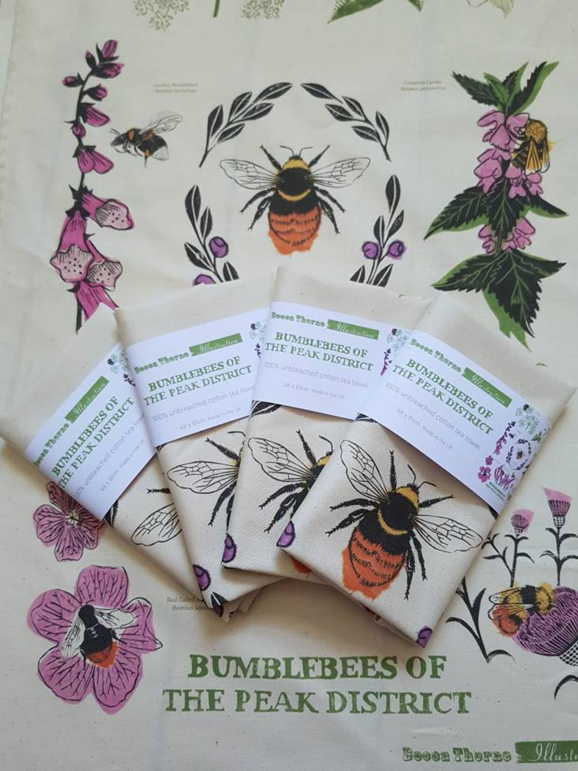 Product image for tea towel bumble bee peak district