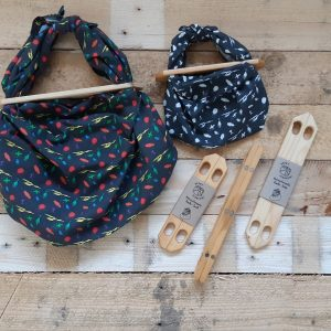 Product image for furoshii wooden handles for shooping bags with fabric wraps