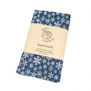 Product image for furoshiki gift wrapping fabric large snowflake blue