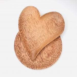 Product image for waste coconut wood shaped plates heart and round