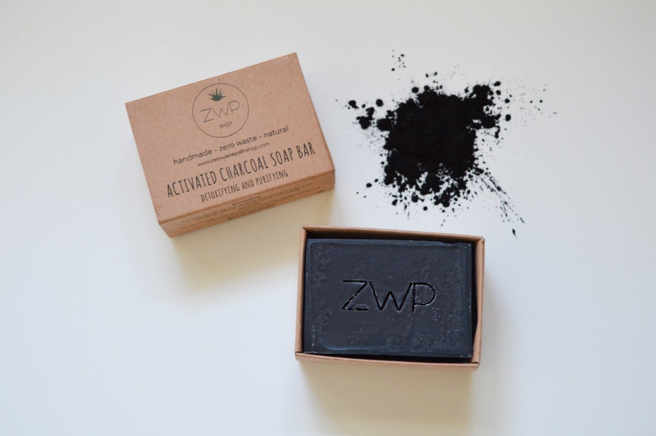 This is an image of Zero Waste Path handmade activated charcoal soap