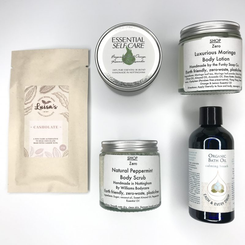 This is an image of the contents of our Unwind and Pamper Zero waste kit of handmade items