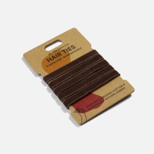This is an image of our Zero Waste Club brown, plastic-free, organic hair ties