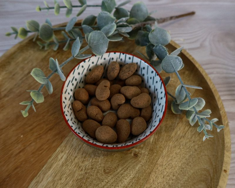 This is the image of a bowl of Vanoffee cashews by the Raw Chocolate Company