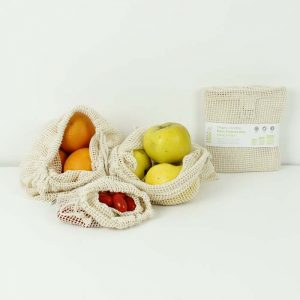 This is an image of our set of 3 organic cotton mesh bag used for produce and fruit and vegetables when shopping
