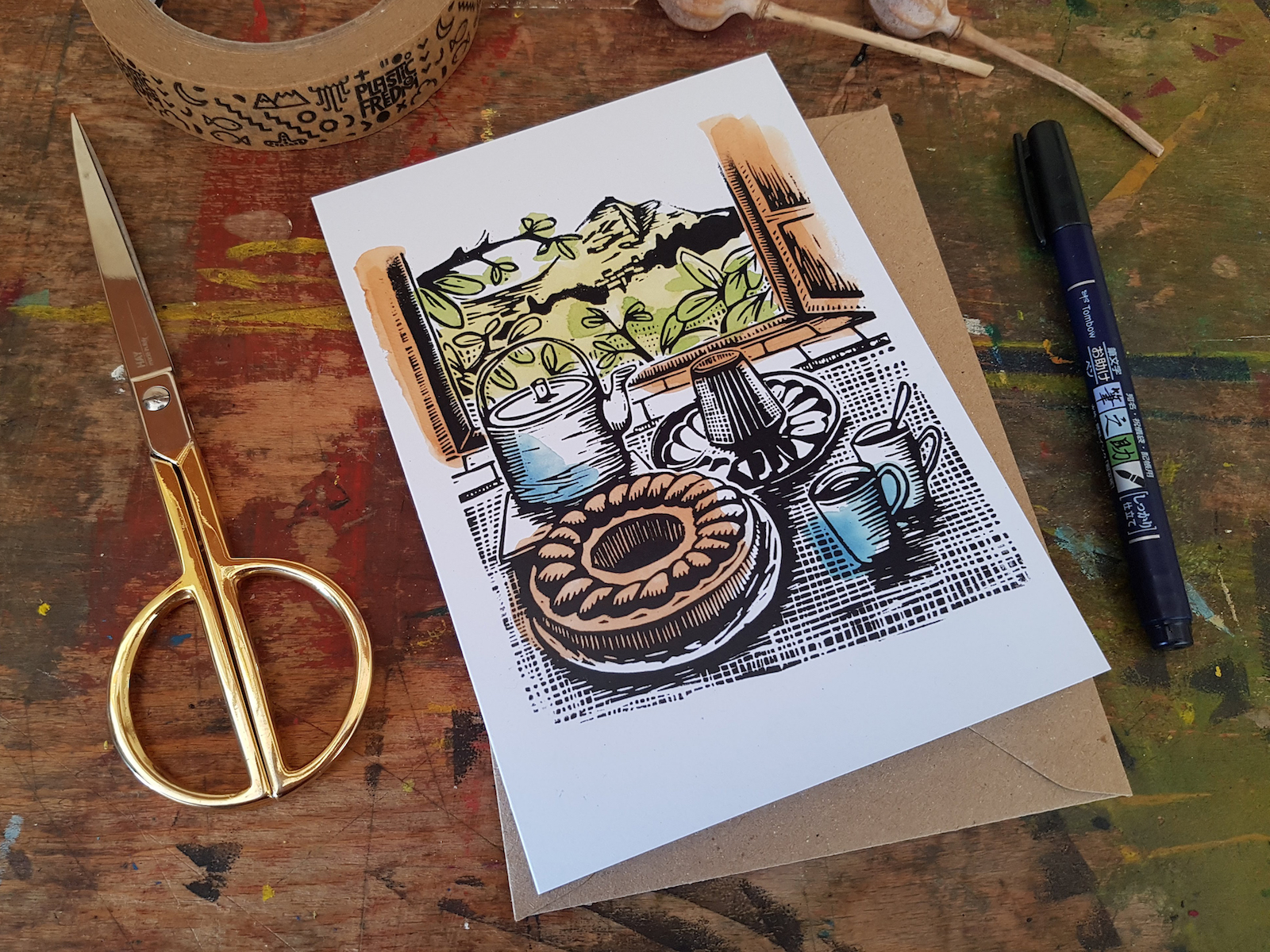 This is the image of a recycled card 'Ciambella' reproduction of an original lino print by Becca Thorne