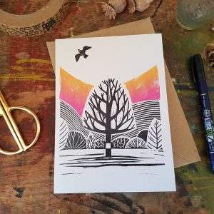 This is the image of a recycled card 'Locko Park' reproduction of an original lino print by Becca Thorne