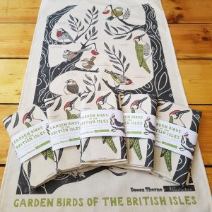 Image of the Garden Birds Teatowel with packaged teatowels