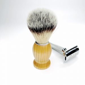 Product image of an Ash wood handle shaving brush with a traditional reusable, safety razor