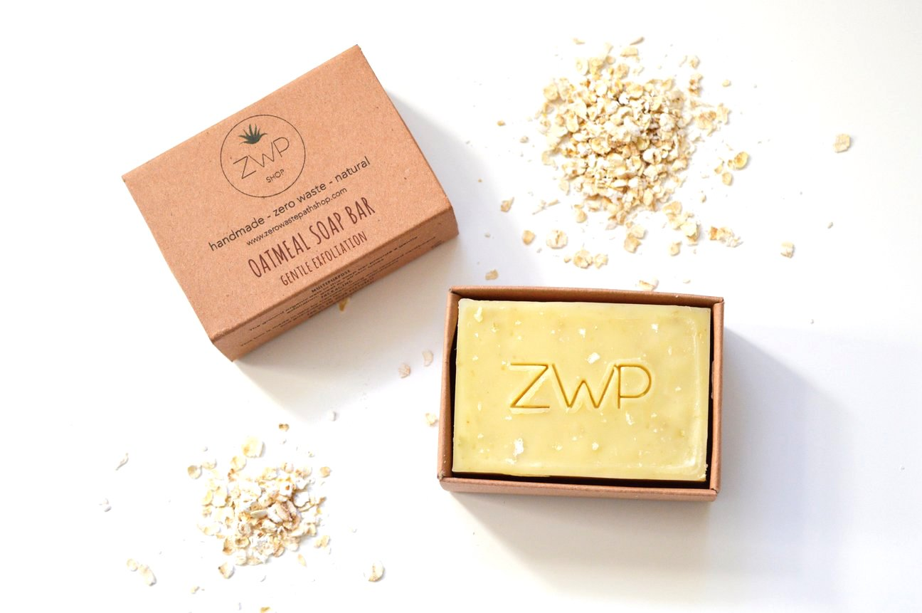 This is an image of Zero Waste Path handmade oatmeal, exfoliating soap
