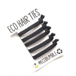 Product image of our black natural rubber hair ties EcoBumble